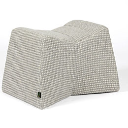 A light gray naughtone Pinch Stool with white stitching, viewed at an angle.
