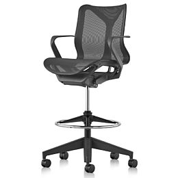 A low-back Cosm ergonomic stool in Graphite dark gray, viewed from an angle.