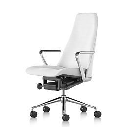 White leather Taper executive chair, viewed from the front at an angle with polished aluminum wheeled base and armrest