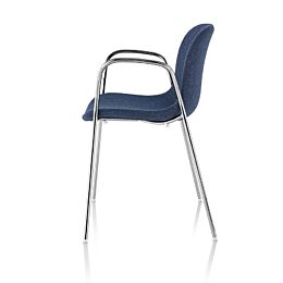 Profile view of a blue Magis Troy Upholstered side chair.