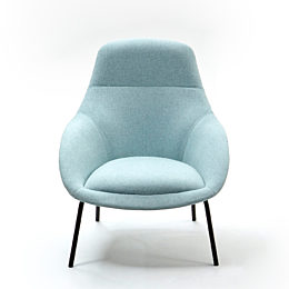 A naughtone Always Lounge Chair with light blue upholstery and black steel legs, viewed from the front.