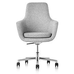 High-back Saiba executive chair in light gray fabric with a polished five-star base and casters, viewed from the front