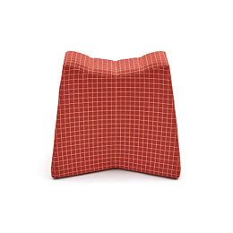 A tall red naughtone Pinch Stool with a pink grid pattern, viewed from the front.