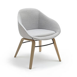 A naughtone Always Side Chair with textured gray upholstery and a wooden legs, viewed from an angle
