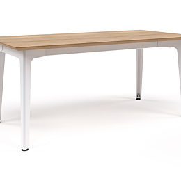 Angled view of Fold Bar Height Table with oak top and white base