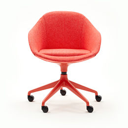 A red naughtone Always Chair with matching 5-star caster base, viewed from the front, on wheels