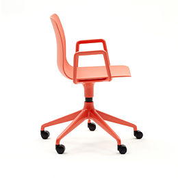 Side view of bright coral Polly desk chair with armrests and 5 star wheel base