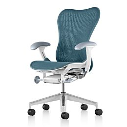 Blue Mirra 2 office chair, viewed from a 45-degree angle and showing ergonomic controls.