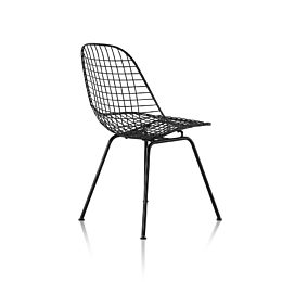 Eames Wire Chair Outdoor with black finish and wire base, viewed from rear at 45 degree angle
