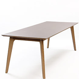 An angled view of a brown Dalby Conference table