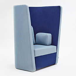 A naughtone Busby Chair, upholstered in light and dark blue, viewed at an angle.